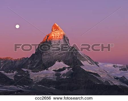 Stock Images of Switzerland, Valais, Zermatt, the Gornergrat,moon.