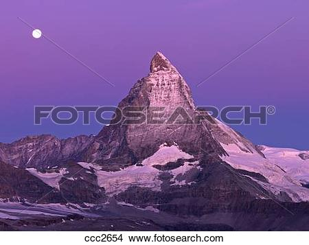 Stock Photo of Switzerland, Valais, Zermatt, the Gornergrat,moon.