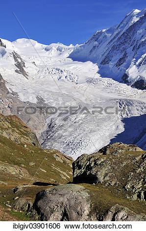 """Stock Images of """"Grenzgletscher glacier, Lyskamm Mountain, 4478 m."""
