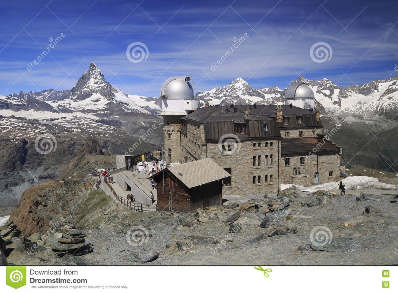 Matterhorn Peak From Gornergrat Mountain, Switzerland Stock Photo.