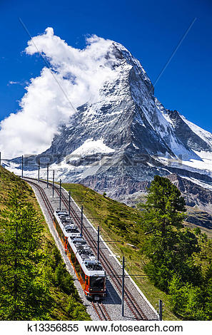 Stock Image of Gornergrat train and Matterhorn. Switzerland.