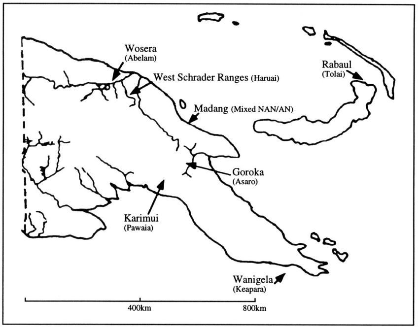 Map of Papua New Guinea showing the location of the study.
