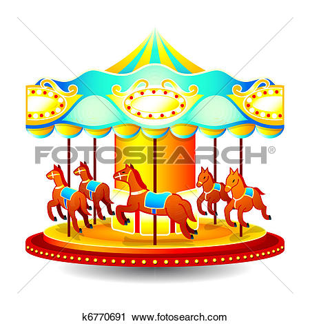 Clip Art of Vintage Carousel Merry Go Round k7544342.