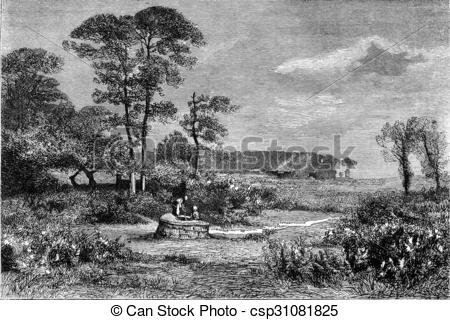 Clip Art of 1876 Exhibition of Painting, Gorse in bloom, by.