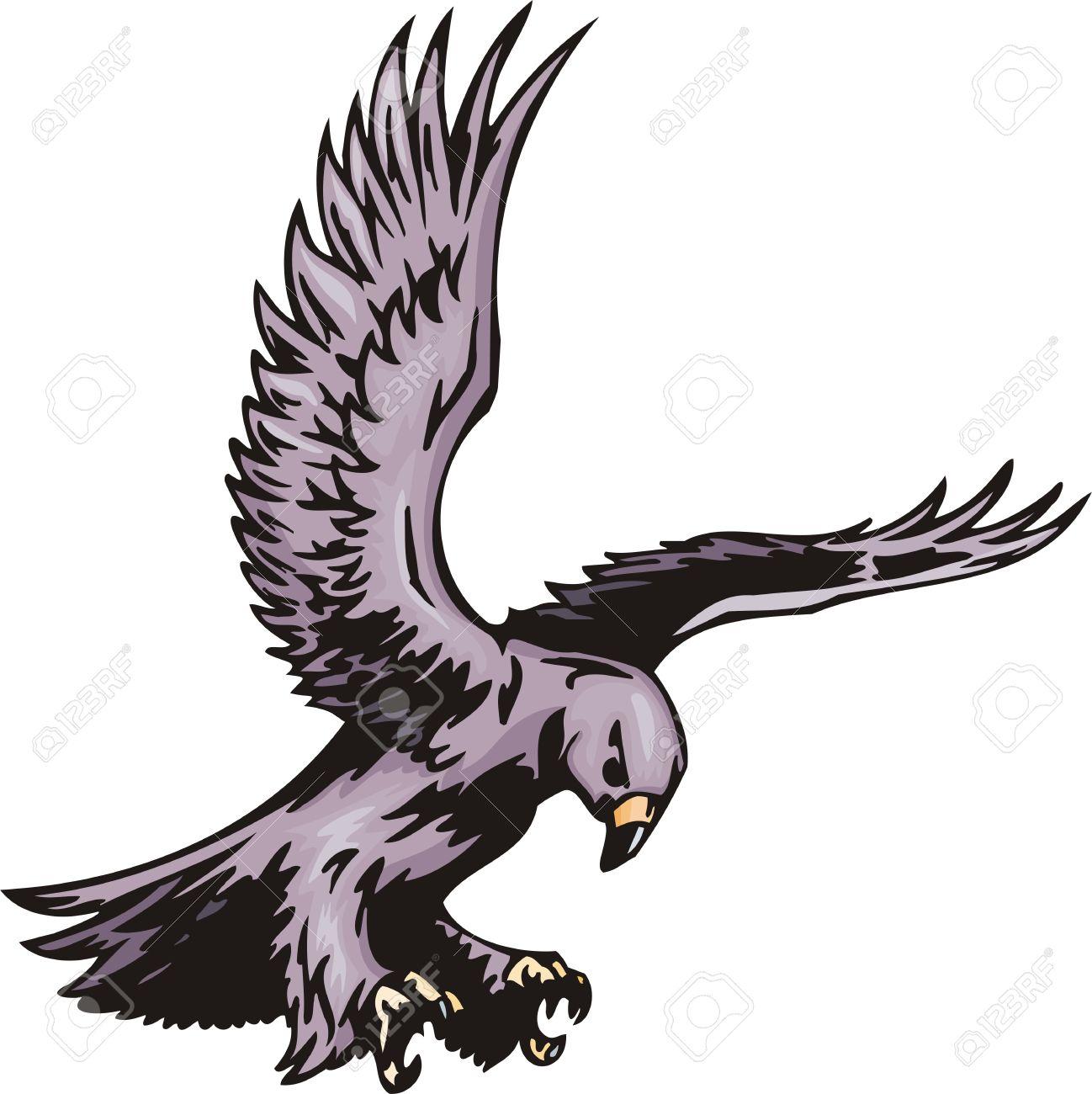 The Goshawk With Violet Plumage. Predatory Birds. Illustration.