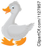 Cartoon Of A Retro Vintage Black And White Gosling Flapping Its.