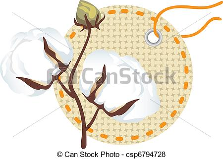 Vector of Cotton branch with label (Gossypium) csp6794728.