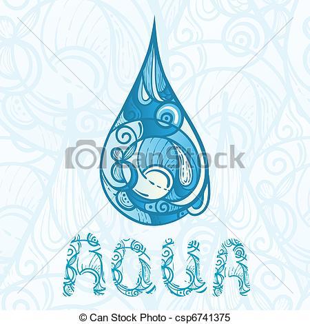 Una gota abstracta de agua con letras de agua. Una gota de.