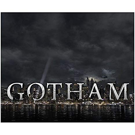 Gotham City Skyline Clouded in Darkness with Logo 8 x 10.