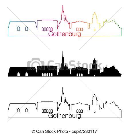 Vector Clip Art of Gothenburg skyline linear style with rainbow in.