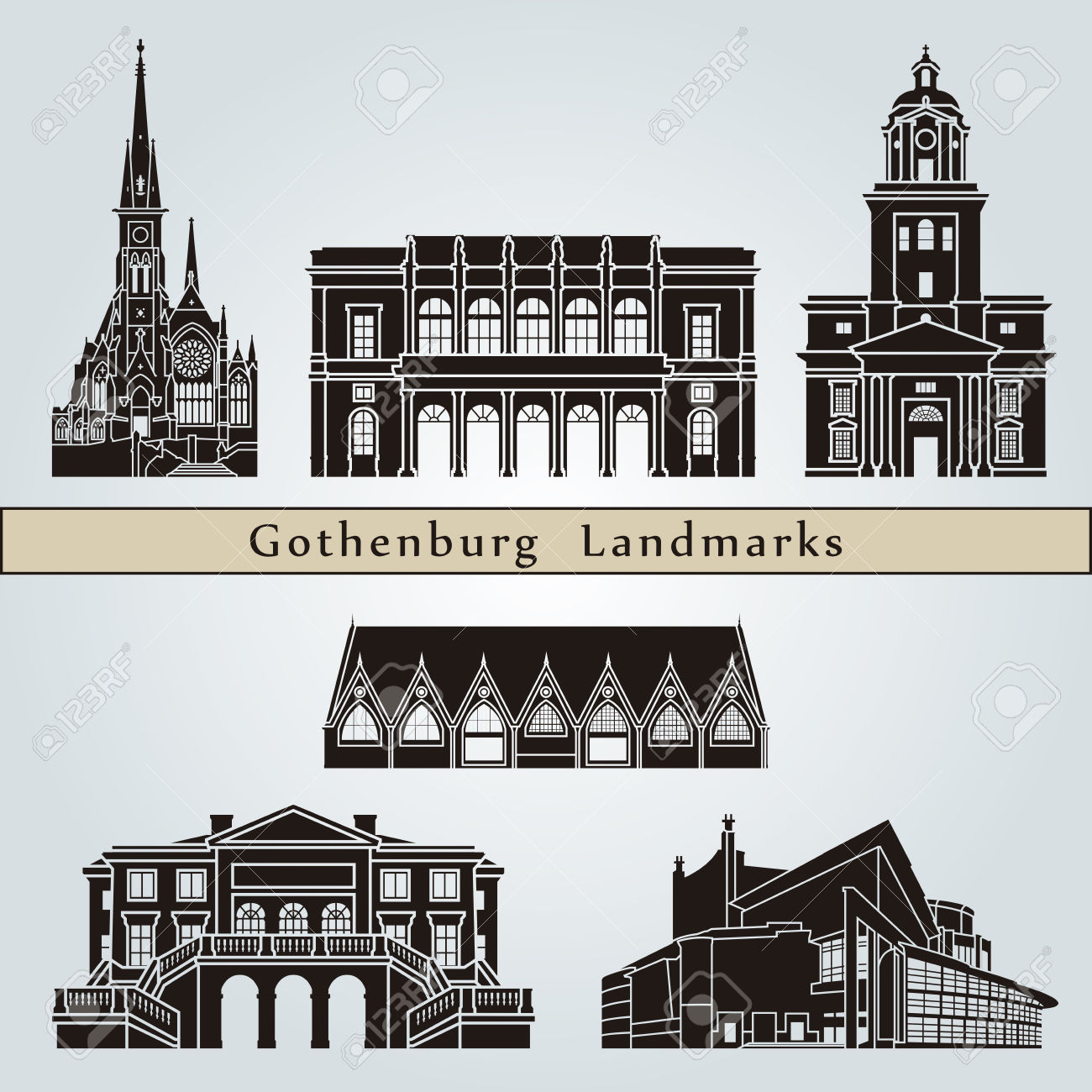 Gothenburg Landmarks And Monuments Isolated On Blue Background.