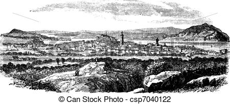 Vector Illustration of Gothenburg in Sweden vintage engraving.