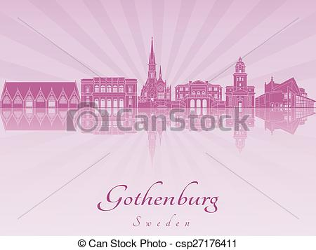 Vector Clip Art of Gothenburg skyline in purple radiant orchid in.