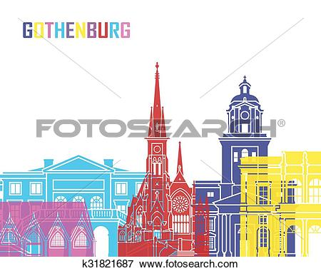 Clip Art of Gothenburg skyline pop k31821687.