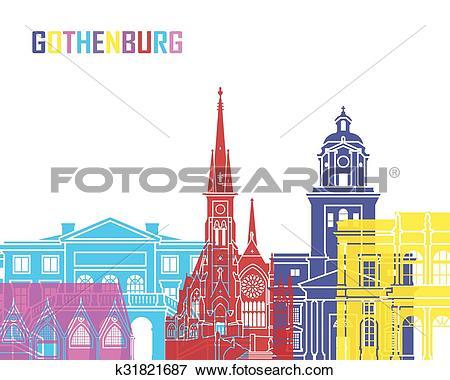 Clip Art of Gothenburg skyline pop k31821687.