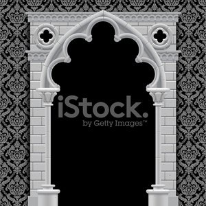 Gothic arch and wall Clipart Image.