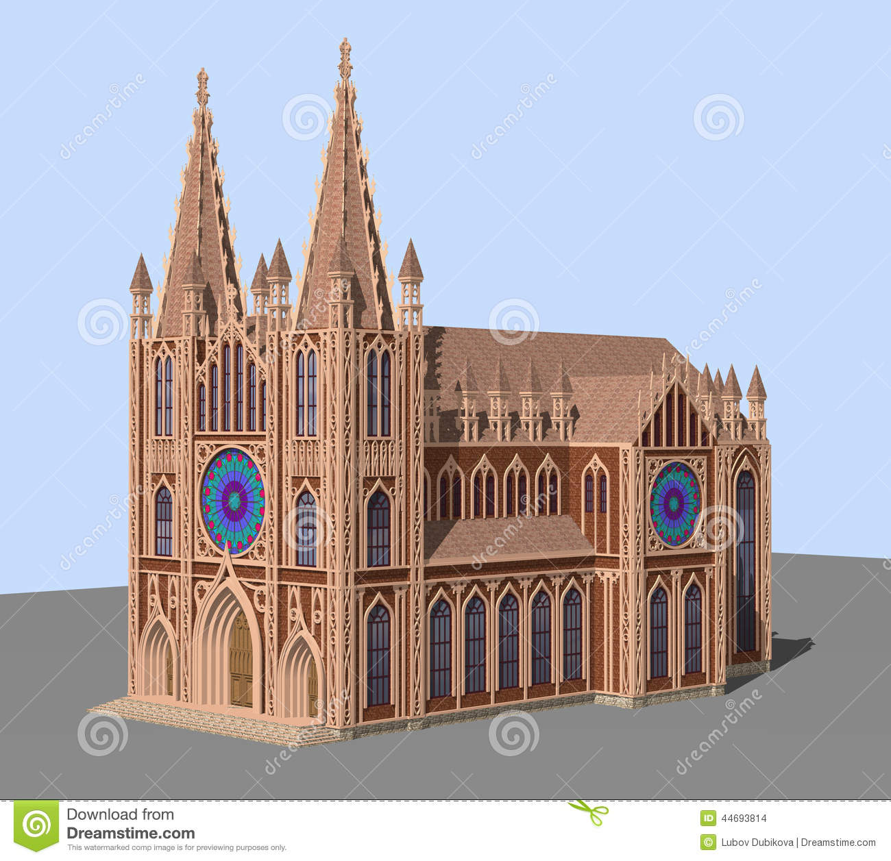 The Gothic Cathedral Stock Illustration.