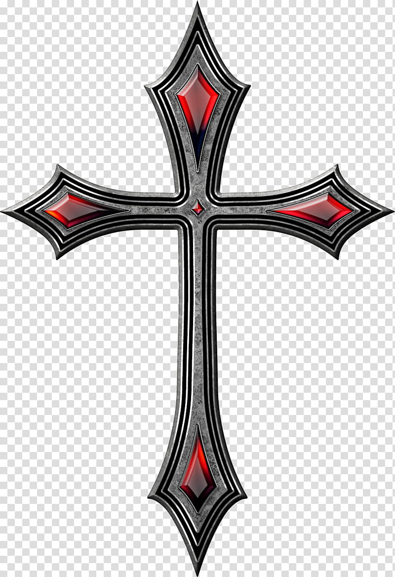 Gothic cross , metal cross with rubies transparent.