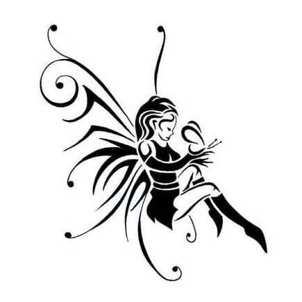 Latest Black Tribal Gothic Fairy Tattoo Design.