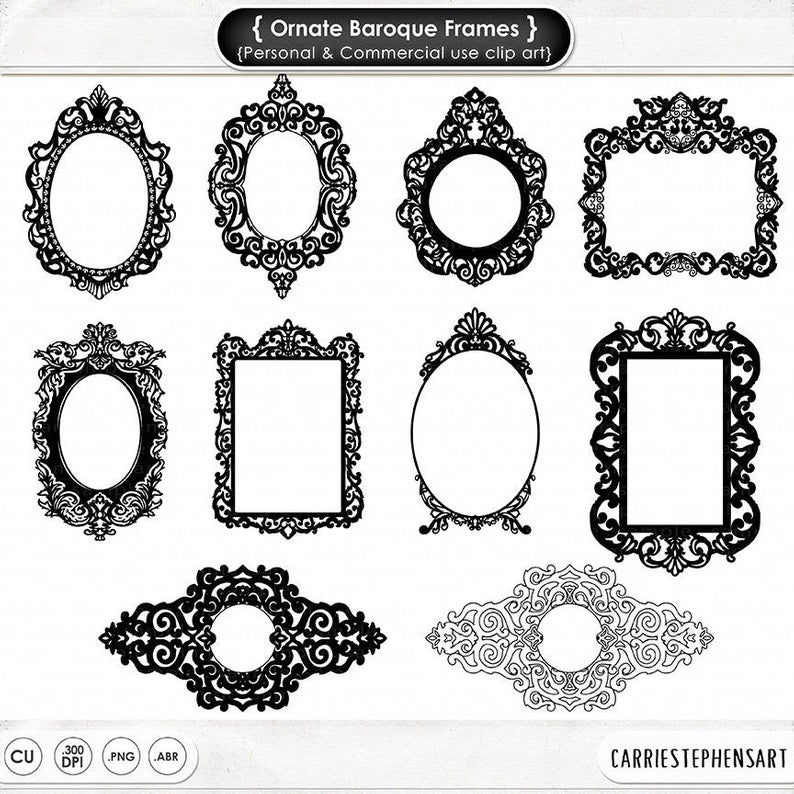 Ornate Baroque Frame Clip Art, Gothic Digital Frames, ClipArt & Photoshop  Brush, Elegant Victorian Digital Stamp, Frame Silhouette.