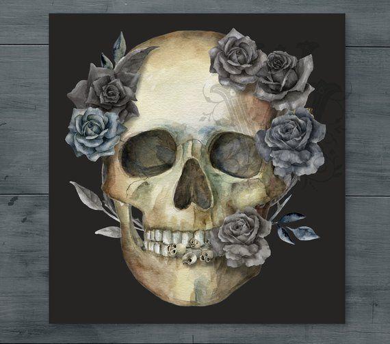 Halloween clipart watercolor human skull clip art, anatomy.