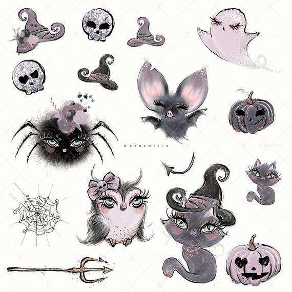 Halloween Clipart Gothic Dolls Halloween Planner Stickers.