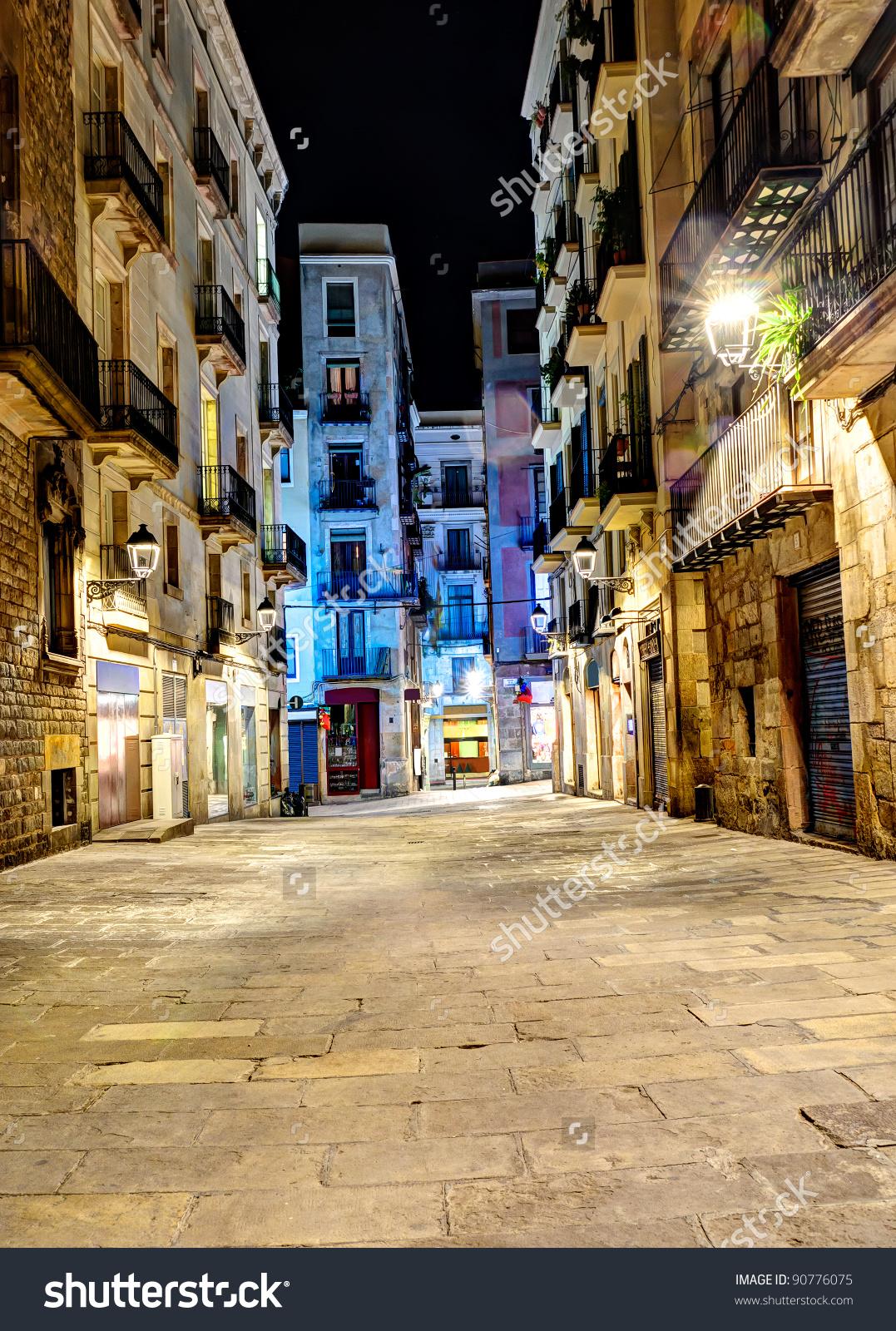 Night Scene Gothic Quarter Barcelona Spain Stock Photo 90776075.