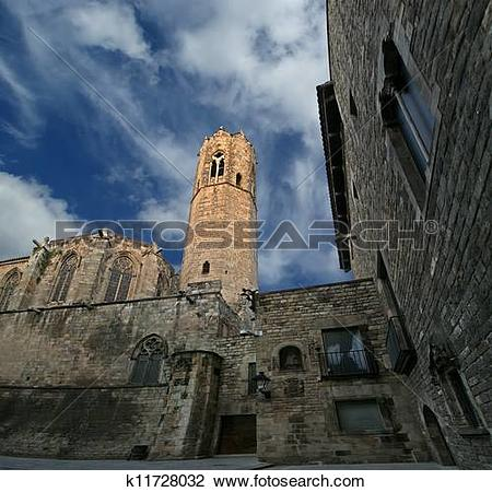 Stock Photo of Buildings in the Gothic Quarter of Barcelona, Spain.