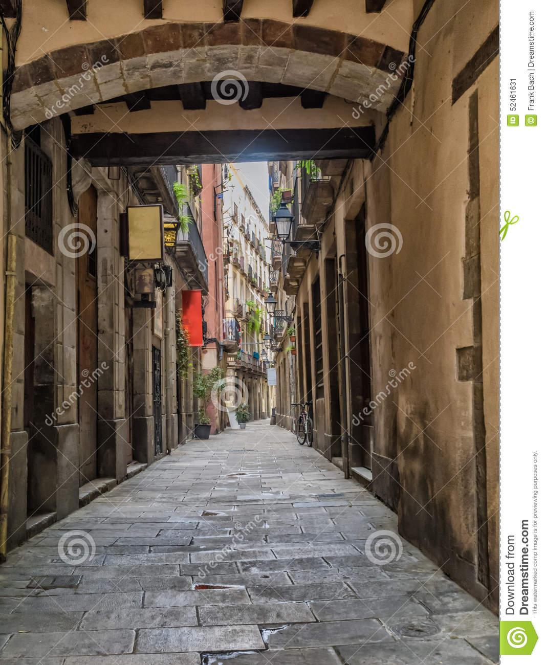 Small Street In Barcelona Gothic Quarter Stock Photo.