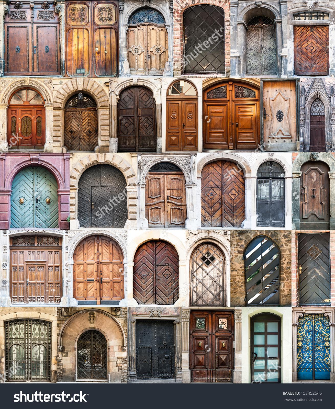 Photo Collage Old Doors Gothic Quarter Stock Photo 153452546.