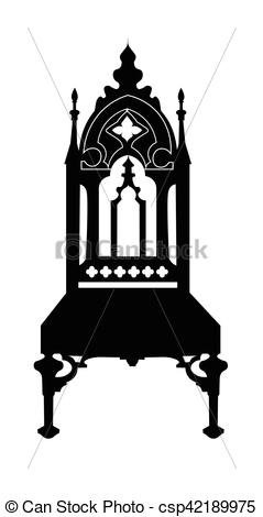 Vectors Illustration of Gothic style chair with ornaments. Vector.