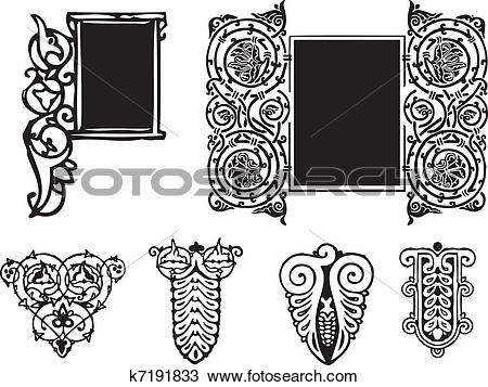 Clipart of Decorative ornament Gothic style k7191833.