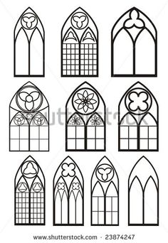 Gothic Church Windows Clip Art.