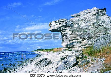 Stock Photography of Sweden, Gotland, Hoburgen, Raukar rocks.
