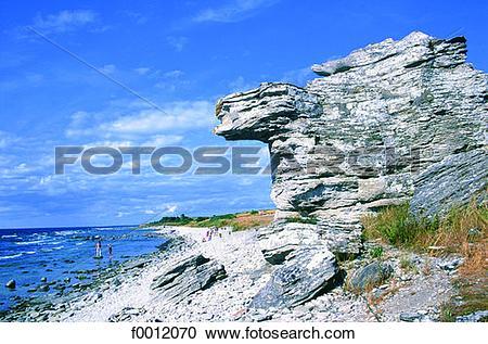 Stock Photography of Sweden, Gotland, Hoburgen, Raukar rocks.