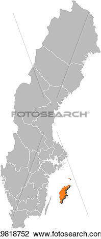 Clipart of Map of Sweden, Gotland County highlighted k9818752.