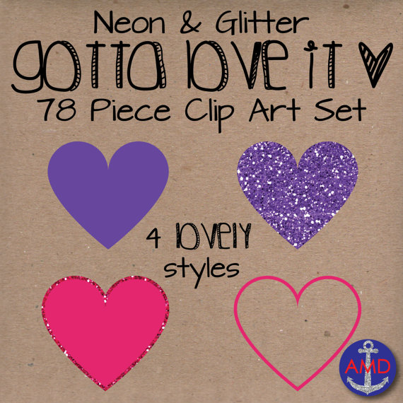 Heart Clip Art Neon & Glitter Gotta Love It by AnchorMeDesigns.