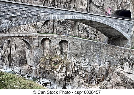 Stock Images of Devil's bridge at St. Gotthard pass, Switzerland.
