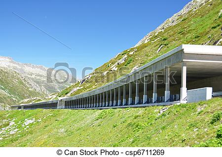 Stock Photographs of Road gallery at St. Gotthard pass.