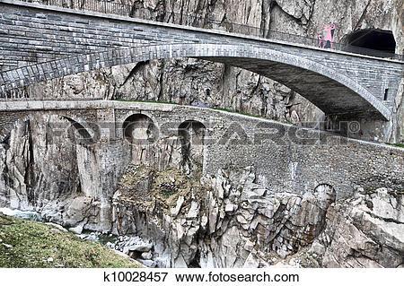 Picture of Devil's bridge at St. Gotthard pass, Switzerland. Alps.