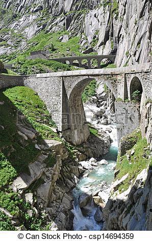 Stock Images of Devil's bridge at St. Gotthard pass, Switzerland.