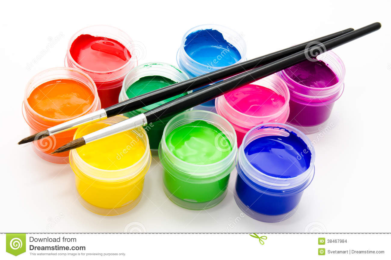 Gouache Paint Brush Isolated On A White Stock Images.