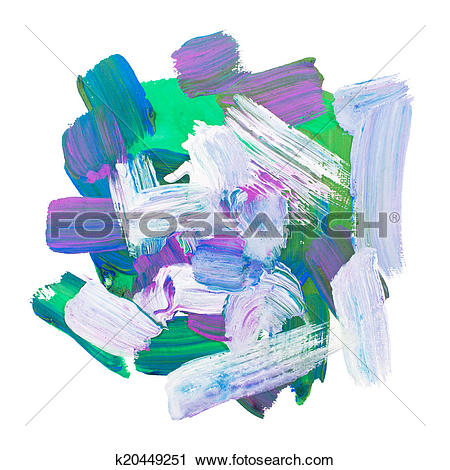 Clipart of Gouache acrylic art paint brush rough dab stroke.