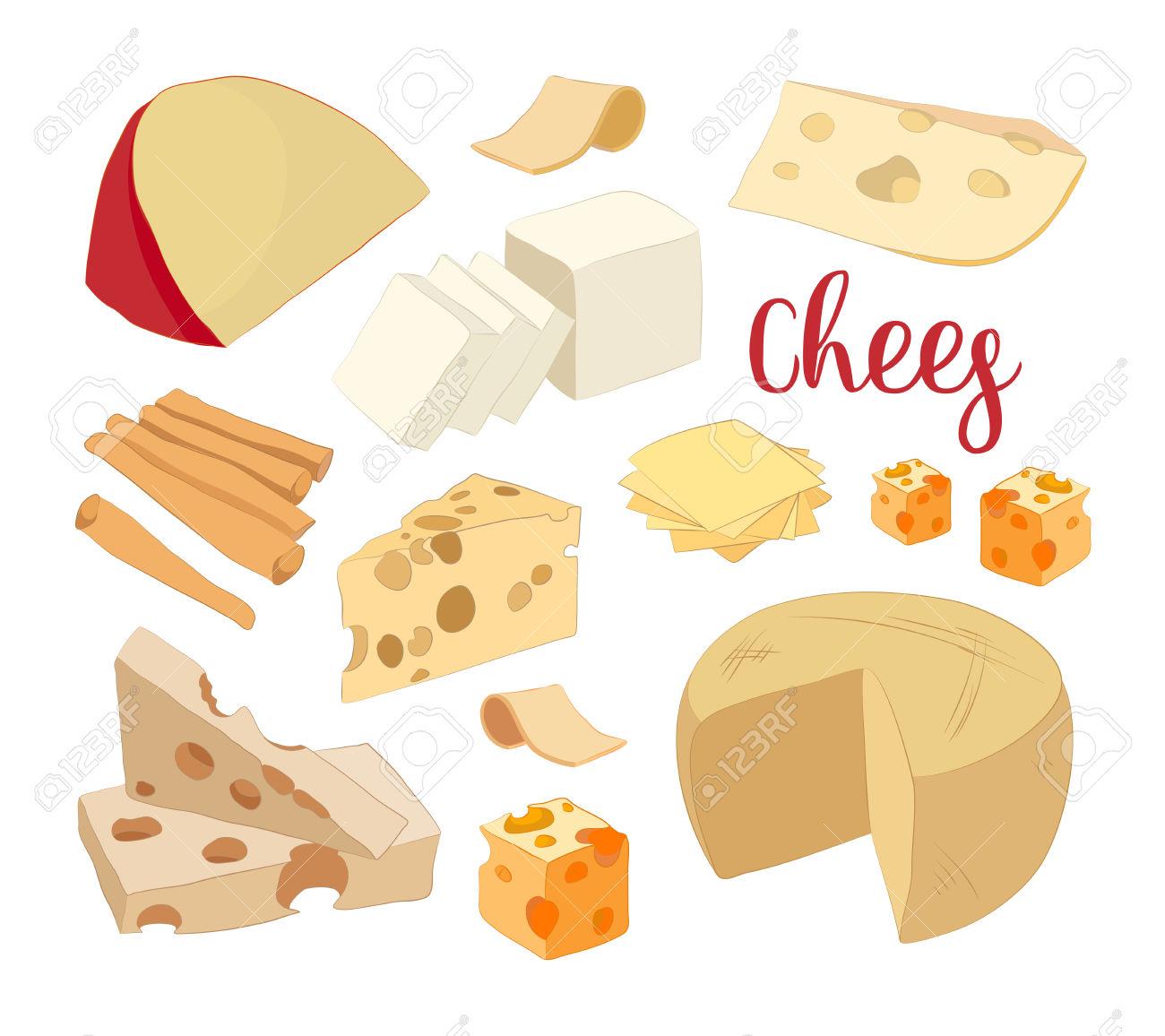 Hand Drawn Set Of Chees. Food Illustration Of Parmesan, Gouda.