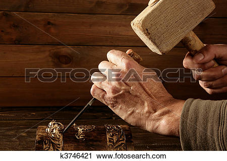 Stock Photography of gouge wood chisel carpenter tool hand hammer.