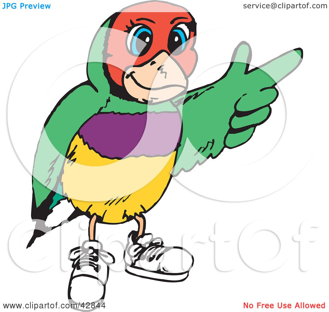 Clipart Illustration of a Gouldian Finch Wearing Shoes And.