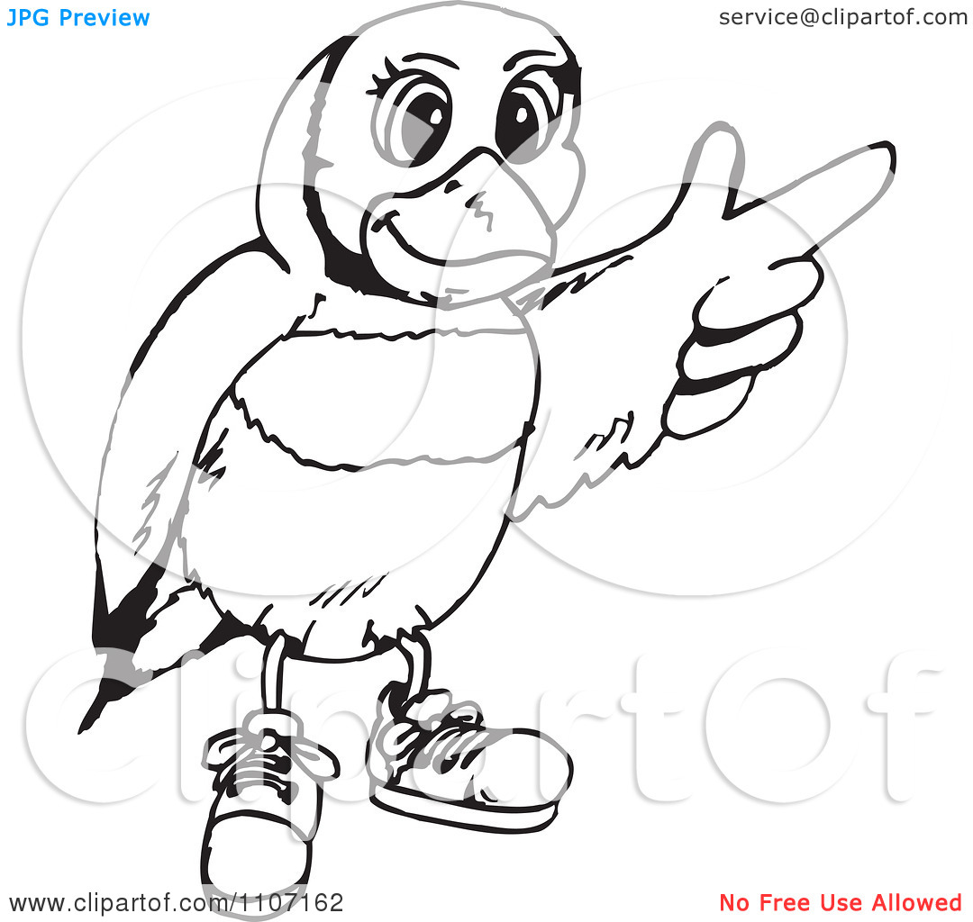 Clipart Black And White Gouldian Finch Wearing Shoes And Pointing.