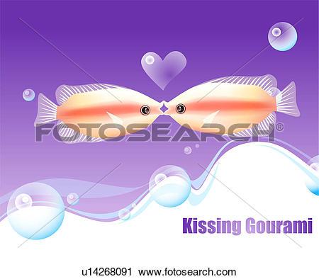 Clipart of fishes, sea, underwater, undersea, ocean, kissing.