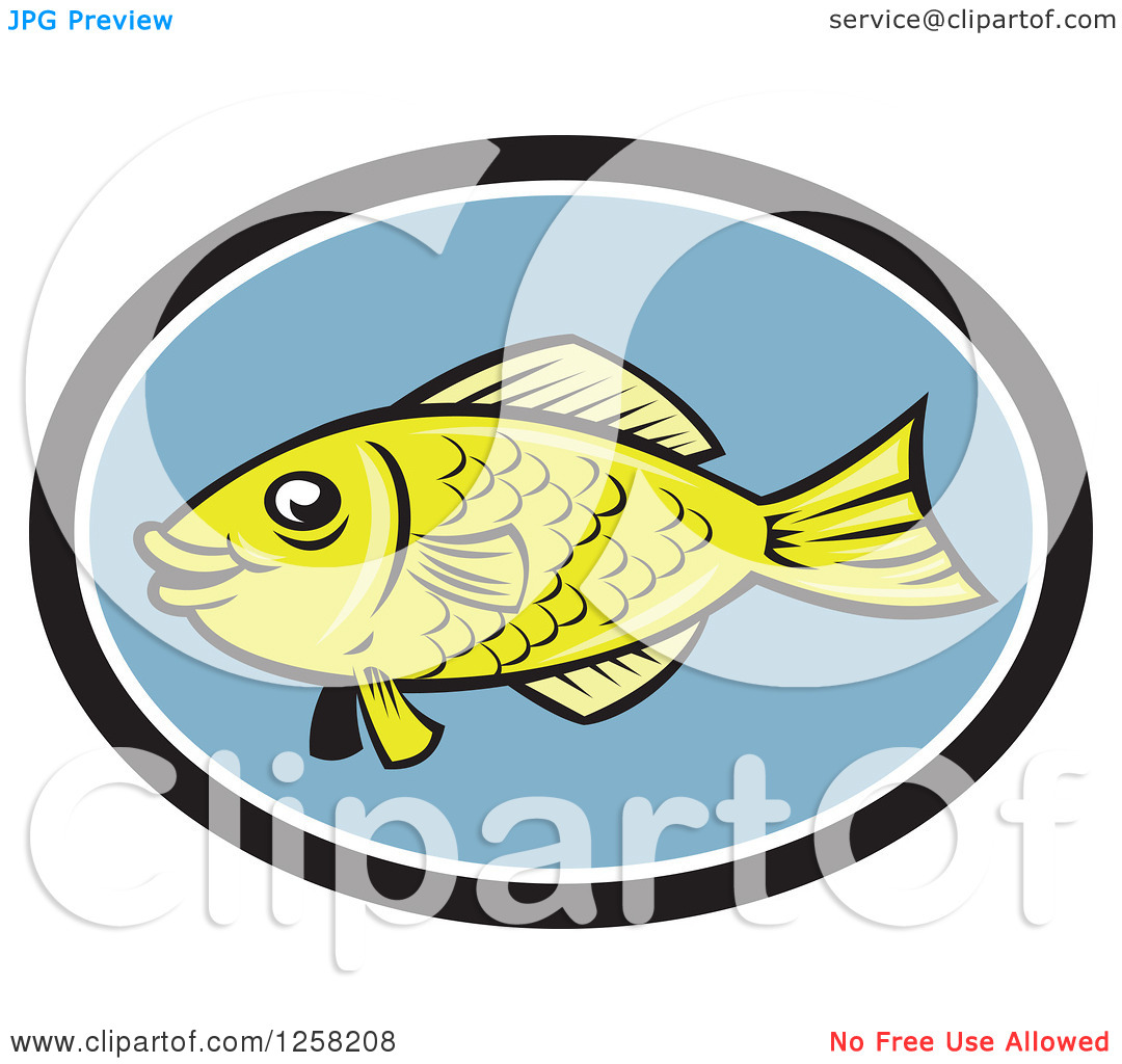 Clipart of a Cartoon Green Gourami Fish in a Black White and Blue.