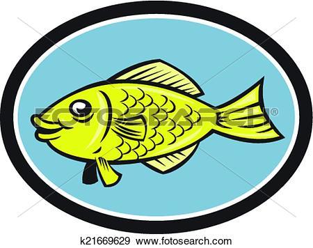 Clip Art of Gourami Fish Side View Oval Cartoon k21669629.